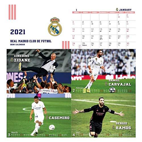 JJH Calendarios de Escritorio Deportivos para Hombres 2021, Calendario de fútbol 2021-2022 Mensual, Regalo de año Nuevo para fanáticos de fútbol, 21 x 17 cm