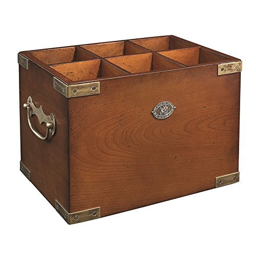 Authentic Models Hardwood 6 Bottle Capacity Bar Box with Carry Handles by Authentic Models