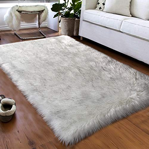 Softlife Faux Fur Sheepskin Area Rugs Shaggy Wool Carpet for Girls Room Bedroom Living Room Home Decor Rug (3ft x 5ft, White-Grey Tip)