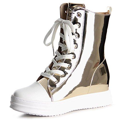 topschuhe24 1037 Damen Sneaker Turnschuhe Hochschaft Hidden Wedges, Größe:38 EU, Farbe:Gold
