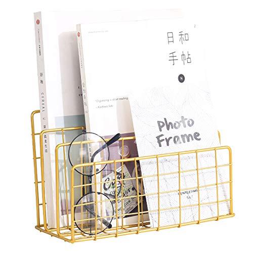 Files Folder Stand Desktop File Organizer, Vinyl Records Holder Book Desktop Shelf Magazine Rack, 3 Slot File Sorter Eye-catching Decoration for Indoor Office Home (Golden)