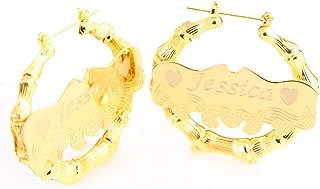 Bamboo Gold Earring Personalized Custom Name Earrings Light Weight Earring Hoops for Women Bestfriends' Jewelry Gift Personalized Jewelry Gift for Her