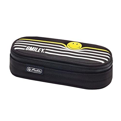 Herlitz Faulenzer Etui Federmäppchen, 22 cm, Smiley Black & Yellow Stripes
