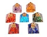 WholesaleGemShop Lot de 7 pyramides d'orgonite chakra - 7 (sept ) pierres d'orgonite de chakra - métaphysique - Reiki
