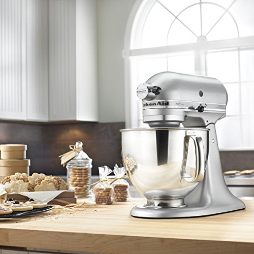 KitchenAid RRK150SM 5 QUART ARTISAN SERIES TILT HEAD STAND - SILVER METALLIC (Renewed)