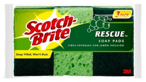 Scotch-Brite Rescue No Rust Soap Pad 300 3-Pack, 3' Length x 1.8' Width x 0.3' Thick, (Case of 12)