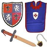 Txkkids Juego de Espada y Escudo Madera,Caballero Medieval,Armas para Niños,Incluye Colgador y Peto,Disfraz con Accesorios.