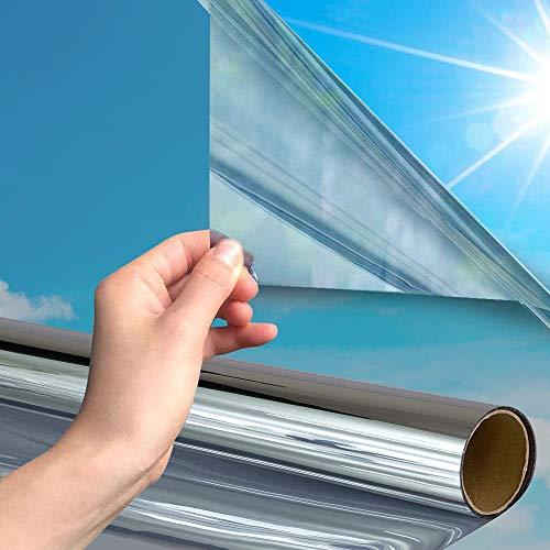 Shackcom 2pcs Spiegelfolie Selbstklebend Fensterfolie One Way Spiegel Reflektierende Sichtschutzfolie 90x200cm Sonnenschutzfolie Anti-UV Schutz Wärmeisolierung Sonnenschutz Fensterfolie-Silber SV002