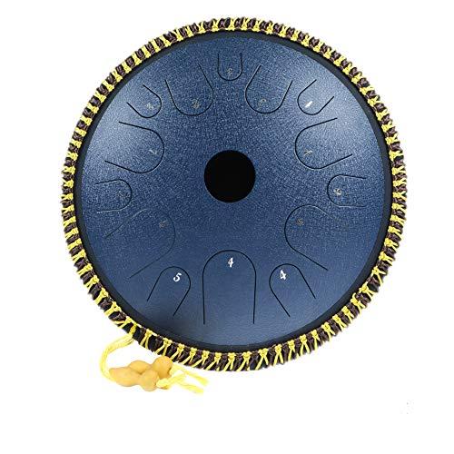 Tambor de lengua de acero 14 notas Instrumento de percusión Handpan de 14 pulgadas Tambor en forma de plato Llave en C Percusión manual Lengüetas...