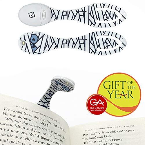 Lámpara flexible de lectura, luz LED ajustable, marcapáginas pinza, lámpara de noche - Regalo para lectores modelo Momia