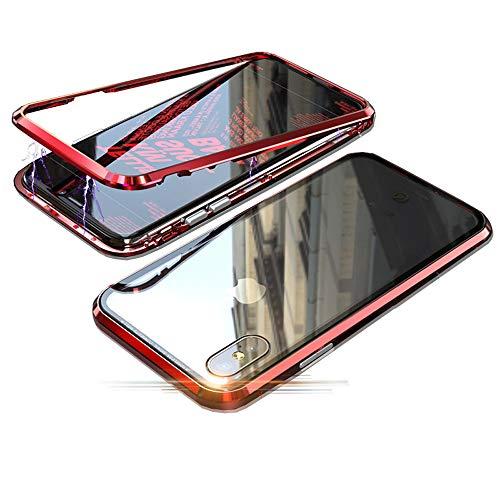 Jonwelsy Funda para iPhone XR, Adsorción Magnética Parachoques de Metal con 360 Grados Protección Case Cover Transparente Ambos Lados Vidrio Templado Cubierta para iPhone XR (Rojo)