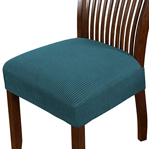 Dining Chair Seat Cover Stretch Spandex Chair Seat Covers Chair Seat Cushion Slipcovers for Dining Room Kitchen Chairs Removable Washable Chair Seat Covers - Set of 6, Deep Teal