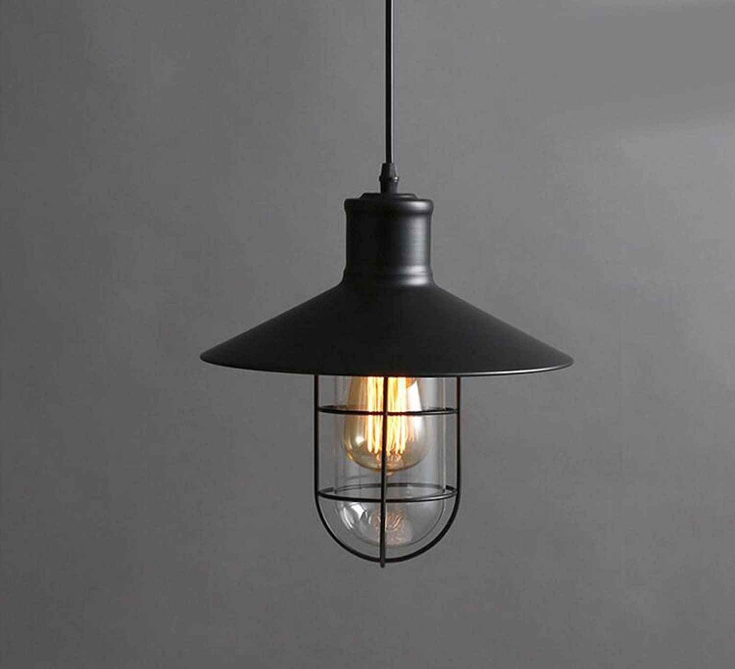 American Single Head Wrought Iron Pot Lid Hanging Lamps Retro Industrial Style Pendant Lights Cafe Restaurant Bar Table loft Ceiling Hanging Light(Without Bulb)