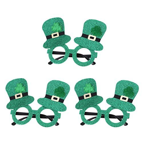 BESTOYARD Shamrock Glitter Brillen Kobold Lensless Hut geformt Gläser Party Zubehör für St. Patrick's Day 3 Stücke
