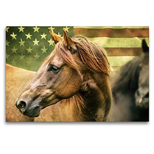 Premium textiel canvas 120 cm x 80 cm dwars, American Quarter Horse | Muurschildering op spieraam, afgewerkt beeld op echt canvas, canvasdruk: Amerikaans levensgevoel (CALVENDO Hobbys);CALVENDO Hobbys