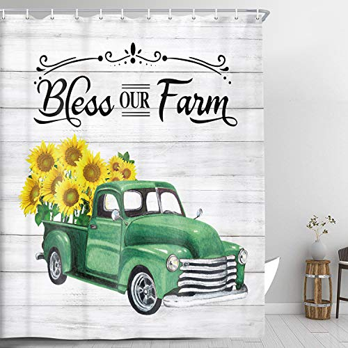 NYMB Farmhouse Shower Curtain for Bathroom, Retro Truck with Sunflowers Bath Curtain, Old Woodern Board Shower Curtain Green Yellow and Grey Fabric Bathroom Accessories Sets, 69X70 Inches