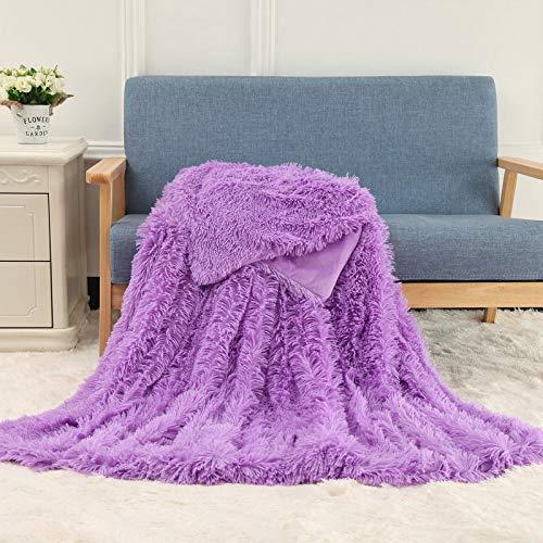 LITHAPP Super Weiche Lange Shaggy Wurfdecke Kunstpelz Warm Elegant Bequem Mit Tagesdecke Decke Flauschig Geeignet Für Stuhl Bett Oder Sofa,Purple-160cmX200cm