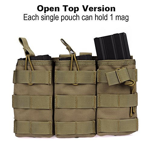 Outry M4 M16 AR-15 Type Magazine Pouch Mag Holder - Triple / Double / Single Airsoft MOLLE Mag Pouch - Open Top Version - Triple - Tan / Coyote Brown