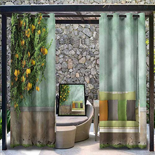 Anmaseven Garden Polyester Pergola Outdoor Curtain Panel for Pergola Decoration Privacy Curtains Wooden Swing in Garden 112' W by 95' L(K284cm x G241cm)