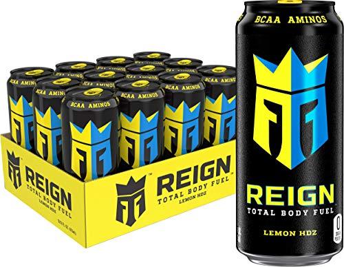 Reign Total Body Fuel, Lemon HDZ, Fitness & Performance Drink, 16 Fl Oz (Pack of 12)