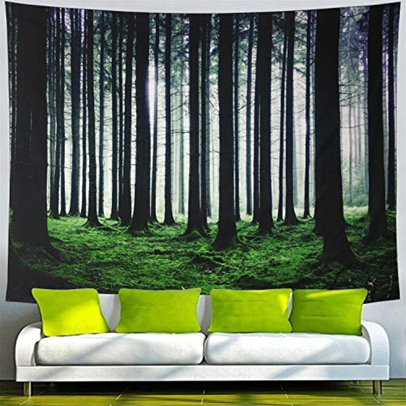 Tapestry Forest Tapestry Misty Trunks Forest Wall Tapestry Grey Forest Trees Wall Hanging Tapestry Psychedelic Nature Landscape Tapestry for Bedroom Living Room Dorm