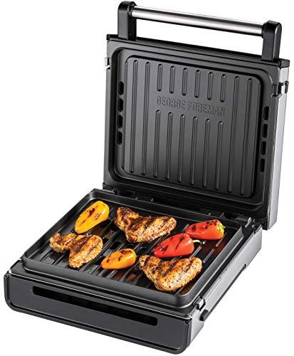 George Foreman Smokeless Grill - Grill Eléctrico (Parrilla Eléctrica, 1575 W, Acero Inox, Tecnología sin humo) - ref. 28000-56