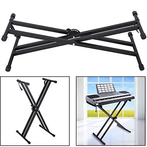 Keyboardständer, Doppelstrebiger Keyboardständer Stabiler Keyboard Stand Doppel - Stand für E-Piano Stagepiano - Klavier Halterung Schwarz, X Rahmen Tastatur Ständer falten