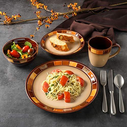 Gibson Casa Estebana 16-piece Dinnerware Set Service for 4, Beige and Brown - 70736.16RM