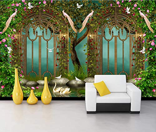Tapeten Anpassbare Wandbild Traumgarten Blume Fee Eisen Zaun Tv Sofa Hintergrund Wand Diy Silk Cloth Home Decoration 300(B) X210(H) Cm