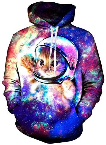 Loveternal Unisex 3D Astronaut Katze drucken Hoodies Hipster Neuheit übergroßen Hiphop Pullover Hoodie Sweatshirt für Paar Junioren XL