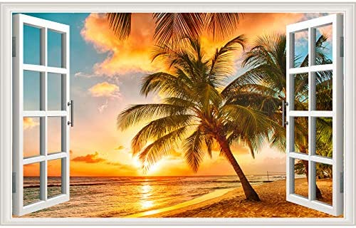 Sunset Seascape Fake Windows Wall Sticker Removable 3D Beach Seascape Faux Windows Wall Sticker product image