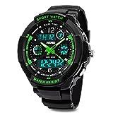 TOPCABIN Jungen Uhren Mädchen Kinder Armbanduhr Digital Analog Wasserdicht mit Wecker/Timer/LED-Licht,Elektronische Stoßfest Handgelenk Sports Uhren für Jungen Uhr Grün