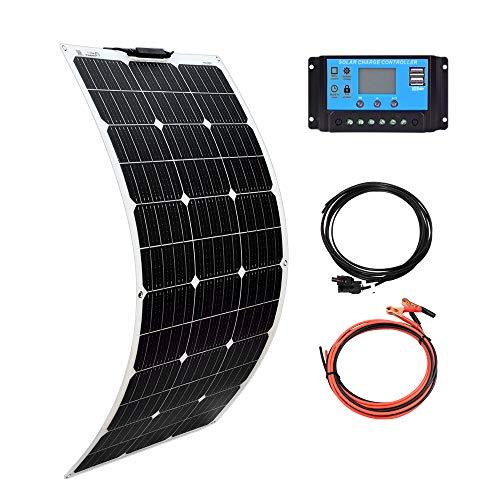 XINPUGUANG 100W 12V Panel Solar flexible Módulo mono Kit 10A Controlador solar para autocaravana, barco, automóvil, caravana, carga de batería de 12v (100)