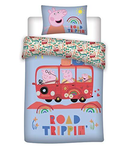 Peppa Pig Family - Juego de cama infantil (100 x 135 cm, 40 x 60 cm, algodón), diseño de Peppa Pig