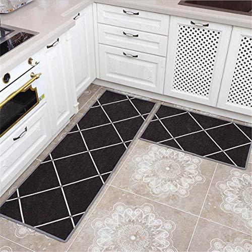 OPLJ Küchenmatte Anti-Rutsch-Türmatte Modernes Wohnzimmer Balkon Badezimmer Geometrisch bedruckter Teppich Waschbare Fußmatte A18 60x180cm