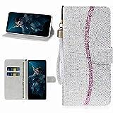 Miagon Glitzer Handyhülle für Samsung Galaxy A51,Fischschuppen Bling Brieftasche Pu Leder Klapphülle Case Glänzend Magnet Cover mit Tasche und Handschlaufe,Silber