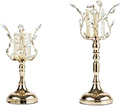 Estrymiw 2pcs Candelabras Gold Crystal Candle Holders for Wedding Centerpieces Fireplace Home Table Decorative Candlestick...