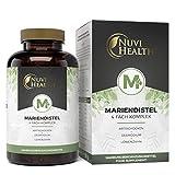 Nuvi Health® Mariendistel 4-fach Komplex - Mit Artischocke + Löwenzahn + Desmodium + Piperin - 120 Kapseln - 80% Silymarin & 2,5% Cynarin - Hochdosiert