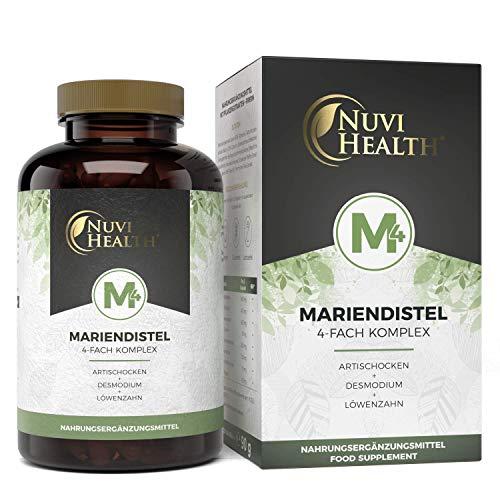 Nuvi Health® Mariendistel 4-voudig complex met artistieke schok + paardenbloem + demode + piperine - 120 capsules - 80% silymarine & 2,5% cynarine - hoge dosis - vegan