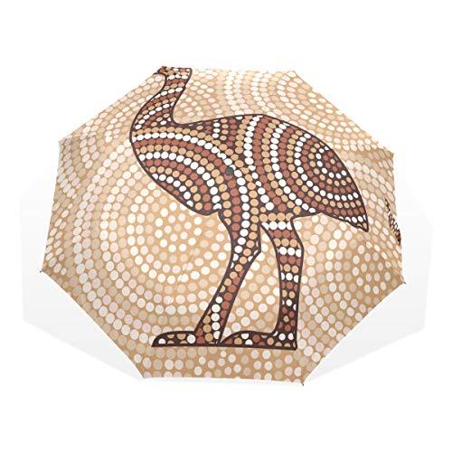 LASINSU Regenschirm,Abstrakte Emu Punkt Malerei der Aborigines,Faltbar Kompakt Sonnenschirm UV Schutz Winddicht Regenschirm
