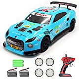 VOLANTEXRC Remote Control Drift Car 2.4Ghz 1:14 Scale RC Sport Racing Car for Adults Kids Boys Gifts 4WD RTR High Speed RC Vehicle with LED Lights, All Batteries and Drifting Wheels + Racing Wheels
