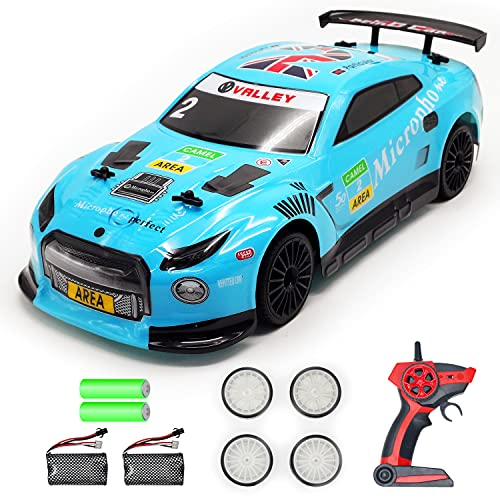 VOLANTEXRC RC Drift Car 2.4Ghz 1:14 Scale Remote Control Sport Racing Car for Adults Kids Boys Gifts 4WD RTR High Speed RC Vehicle with LED Lights, All Batteries and Drifting Wheels + Racing Wheels