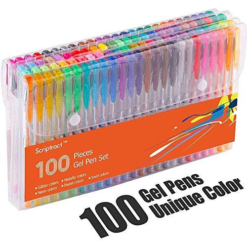 Scriptract Bolígrafos de Gel de Colores con Estuche 100 Colores Únicos para Adultos Niños Incluido Purpurina, Metálico, Neón y Clásicos para Escribir, Dibujar, Subrayar y Colorear