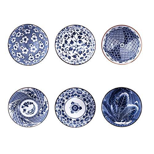 Binoster Mueslischalen, 6 stuks, Japanse designs, keramische kommen voor granen/soep, set van 6