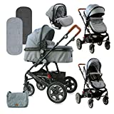Lorelli cochecito Lora 3 en 1 asiento de coche bolsa de transporte funda de pie de asiento deportivo, color:gris claro