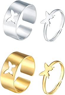 4Pcs Butterfly Band Rings Set for Women,Adjustable Gold Silver Hollow Butterfly Open Ring Matching Stacking Rings for Coup...