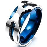 MunkiMix 8mm Acciaio Inossidabile Anello Anelli Banda Tono Argento Blu Matrimonio Dimensioni 14 Uomo