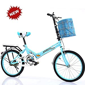 Folding Bikes QINYUP 20 Inch Folding Bicycle Women'S Light Work Adult Adult Ultra Light Variable Speed Portable Adult Small Student…