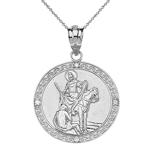 925 Sterling Silver St. Martin Of Tours Round Medal CZ Pendant Necklace (1.15