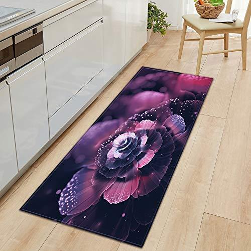HLXX Alfombra de Cocina Dormitorio Sala de Estar Pasillo Alfombra de Piso Inicio Antideslizante Felpudo de Entrada Patrón de Flores 3D Decora Mat A20 60x180cm